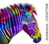 Colorful Zebra Isolated On...
