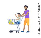 joyful father shopping with his ... | Shutterstock .eps vector #1151682872