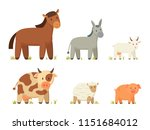 Stock vector red horse and donkey spotted cow and pinky pig goat and sheep poster big farm animal vector 1151684012