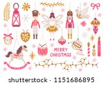 Stock vector vector christmas set with nutcracker princess soldier rocking horse horn drum and christmas 1151686895
