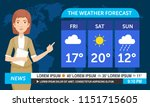 young female weather reporter... | Shutterstock .eps vector #1151715605