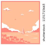 pale pink poster of yacht... | Shutterstock .eps vector #1151715665
