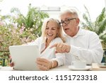 cheerful aged couple watching... | Shutterstock . vector #1151723318