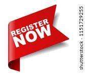 red vector banner register now   Shutterstock .eps vector #1151729255