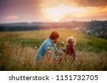 happy family. father and little ... | Shutterstock . vector #1151732705