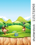monkey playing seesaw in nature ... | Shutterstock .eps vector #1151733905