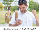 students with mobile phone or... | Shutterstock . vector #1151750642