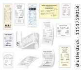 commercial cheques  flat set... | Shutterstock . vector #1151759018