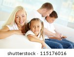 portrait of happy woman and her ... | Shutterstock . vector #115176016