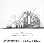 architecture abstract black and ... | Shutterstock .eps vector #1151761022