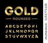 Golden Rounded Font. Alphabet...