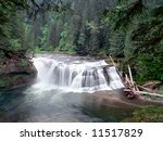 The Lewis River at Lower Lewis Falls in the Gifford Pinchot National Forest Cascade Mountain Range Washington USA
