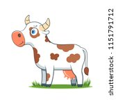 a happy cartoon cow. comic farm ... | Shutterstock .eps vector #1151791712