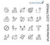 route line icons. editable... | Shutterstock .eps vector #1151799035
