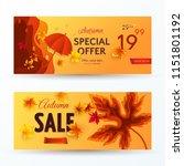 set of vector autumn sale... | Shutterstock .eps vector #1151801192