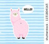 cute cartoon lama  doodle... | Shutterstock .eps vector #1151804165
