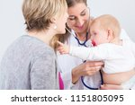 dedicated female physician... | Shutterstock . vector #1151805095