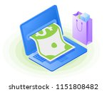 the laptop  paper dollar from... | Shutterstock .eps vector #1151808482