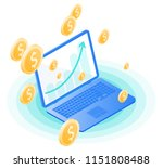 the laptop  increasing arrow on ... | Shutterstock .eps vector #1151808488