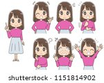 collection of various facial... | Shutterstock .eps vector #1151814902