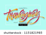 happy thanksgiving hand drawn... | Shutterstock .eps vector #1151821985