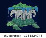 diskworld resting on elephants... | Shutterstock .eps vector #1151824745