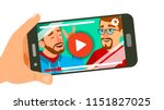 watching video on smartphone... | Shutterstock .eps vector #1151827025