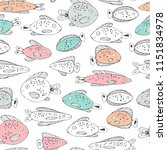 marine seamless pattern with... | Shutterstock .eps vector #1151834978