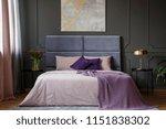 violet cushion on bed between... | Shutterstock . vector #1151838302