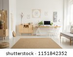brown carpet between pouf and... | Shutterstock . vector #1151842352