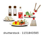 coffee and omelets.there is egg ... | Shutterstock .eps vector #1151843585