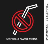 plastic straws with red cross... | Shutterstock .eps vector #1151849462