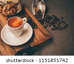 close up hot coffee on wooden... | Shutterstock . vector #1151851742