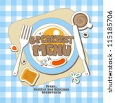 breakfast menu card design... | Shutterstock .eps vector #115185706