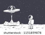 astronaut watches as an alien... | Shutterstock .eps vector #1151859878