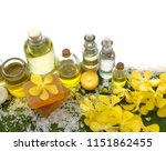 spa set on banana leaf with... | Shutterstock . vector #1151862455