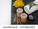 spa setting with stones in bowl ... | Shutterstock . vector #1151862665