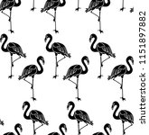 seamless pattern with flamingos. | Shutterstock .eps vector #1151897882