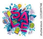 back to school sale label.... | Shutterstock .eps vector #1151899748