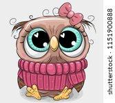 cute cartoon owl in pink... | Shutterstock .eps vector #1151900888