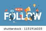 follow concept. post content in ... | Shutterstock .eps vector #1151916035