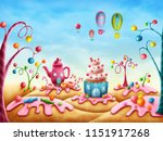fantasy sweet land with homes... | Shutterstock . vector #1151917268