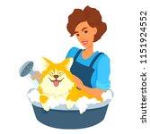 girl washing dog in a foam bath....   Shutterstock .eps vector #1151924552