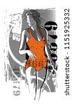 woman in orange swimsuit going... | Shutterstock .eps vector #1151925332