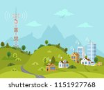 transmission cellular tower on... | Shutterstock .eps vector #1151927768