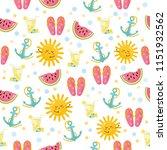 summer seamless pattern. funny... | Shutterstock .eps vector #1151932562