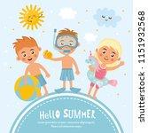happy summer kids on the frame. ... | Shutterstock .eps vector #1151932568