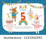greeting card design with cute... | Shutterstock .eps vector #1151932592