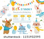 Greeting Card Design With Cute...