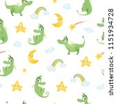 a seamless pattern with dragons ... | Shutterstock .eps vector #1151934728